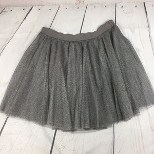 NWT! LC Lauren Conrad Silver Shimmer Skirt size L!